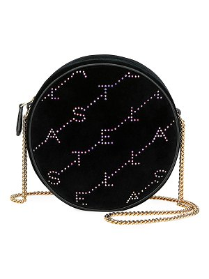Stella McCartney Crystal Velvet Round Monogram Crossbody Bag