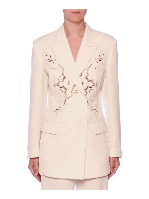 Stella McCartney Embroidered Anglaise Double-Breasted Fitted Wool Blazer