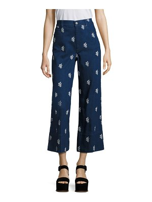 Stella McCartney Embroidered High-Waisted Cropped Jeans