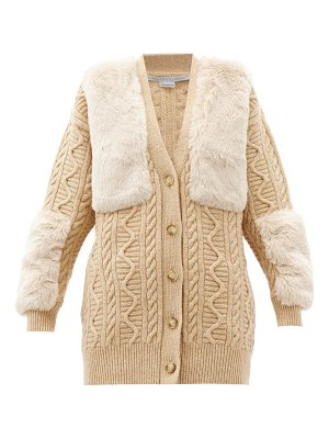 Stella McCartney faux-fur panel cable-knit wool cardigan