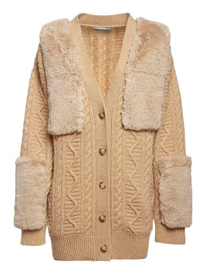 Stella McCartney Faux fur & wool knit cardigan