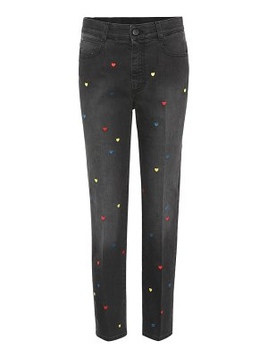 Stella McCartney High-waisted embroidered cropped jeans