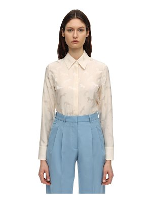 Stella McCartney Horses satin jacquard shirt