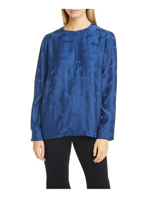 Stella McCartney jacquard horse split long sleeve blouse