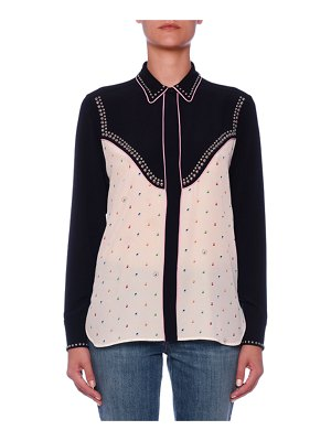 Stella McCartney Long-Sleeve Ditzy-Print Silk Blouse