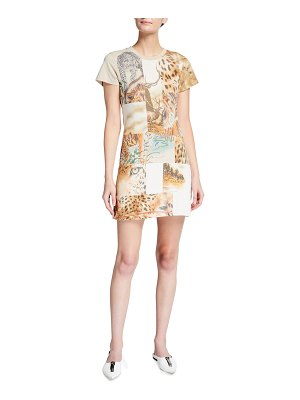 Stella McCartney Nature Animal-Motif Patchwork Shirtdress