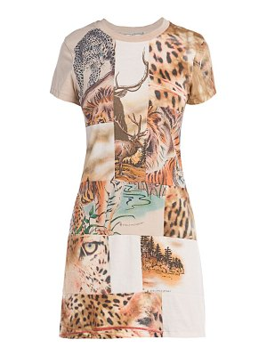 Stella McCartney nature patchwork short-sleeve knit mini dress