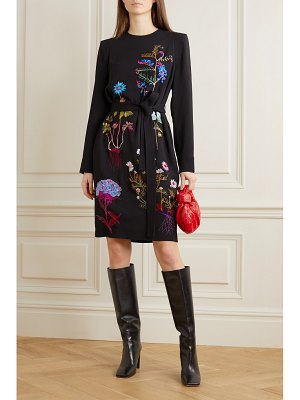 Stella McCartney net sustain belted embroidered cady midi dress