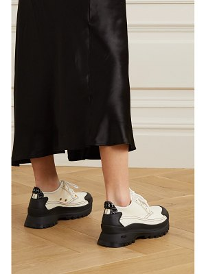 Stella McCartney net sustain canvas and vegetarian textured-leather sneakers