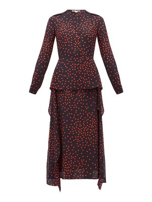 Stella McCartney polka dot print draped panel silk dress