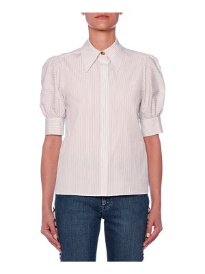 Stella McCartney Puff-Sleeve Button-Front Pinstripe Blouse