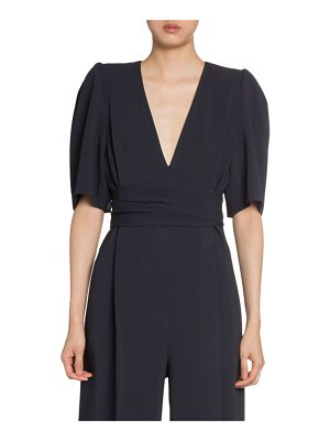 Stella McCartney Puff-Sleeve V-Neck Jumpsuit