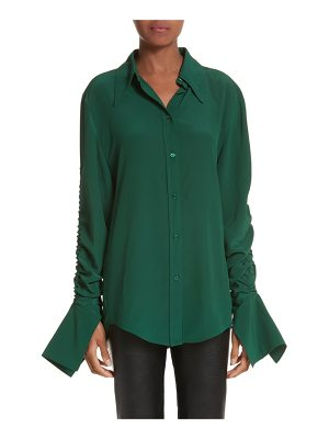 Stella McCartney ruched flare cuff silk shirt