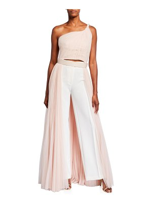 Stella McCartney Sleeveless One-Shoulder Layered Long Back Tulle Blouse