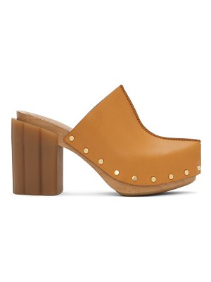 Stella McCartney tan daisy heeled clogs