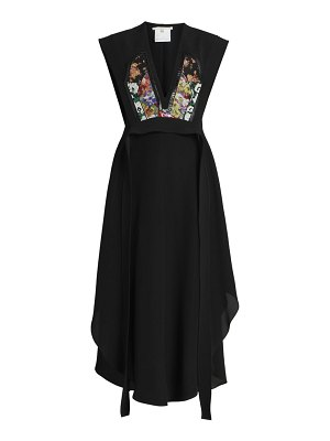 Stella McCartney tapestry appliqué silk midi dress