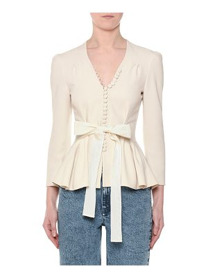 Stella McCartney V-Neck Tie-Waist Stretch-Cady Peplum Blouse