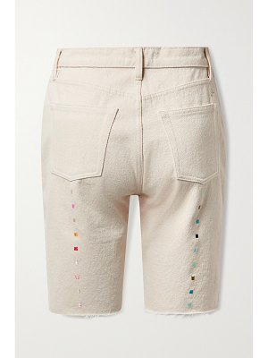 Still Here technicolor frayed embroidered recycled denim shorts