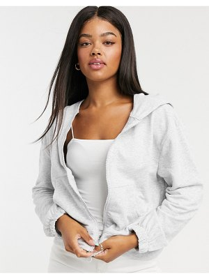 Stradivarius basic zipper sweatshirt in gray