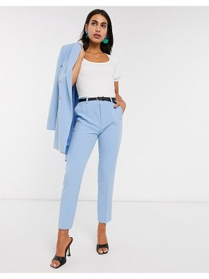 Stradivarius belted tailored pants in blue
