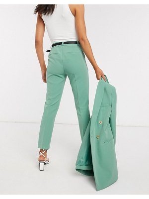 Stradivarius belted tailored pants in green