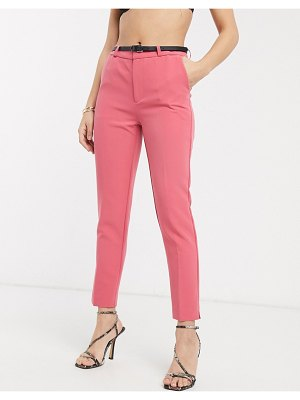 Stradivarius belted tailored pants in pink