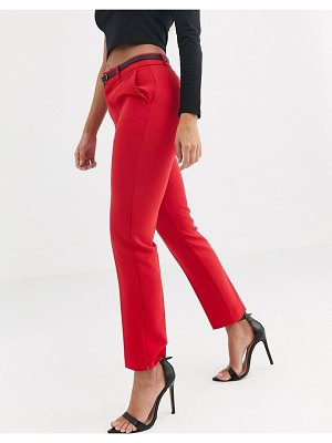 Stradivarius belted tailored pants in red