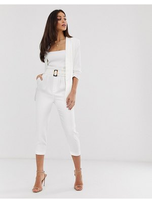 Stradivarius belted tailored pants two-piece in white
