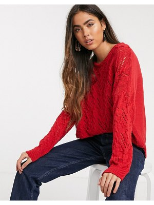 Stradivarius braided knit sweater in red