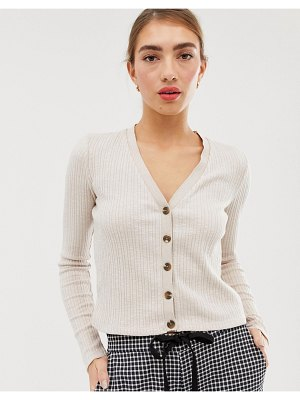 Stradivarius button front ribbed top in beige