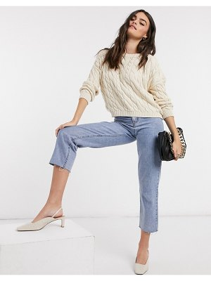 Stradivarius cable knit top set in beige