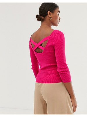 Stradivarius cross-back ribbed sweater in pink