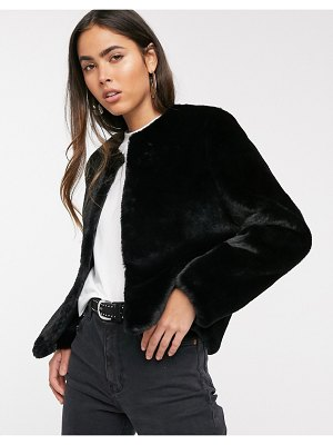 Stradivarius faux fur jacket in black