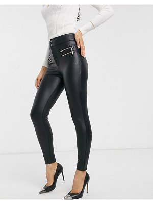 Stradivarius faux leather pants with zip detail in black