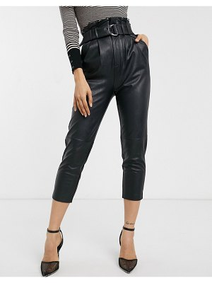 Stradivarius faux leather paperbag pants with belt in black