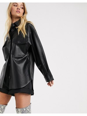 Stradivarius faux leather shirt in black