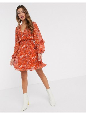 Stradivarius frill mini dress with floral print-multi