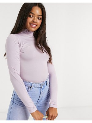 Stradivarius high neck long sleeve top in lilac-pink