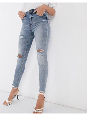 Stradivarius high waist skinny jeans with rips in medium wash-blue