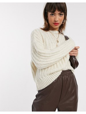 Stradivarius knit sweater in ecru-white