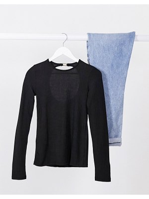 Stradivarius long sleeve jersey top with open back in black