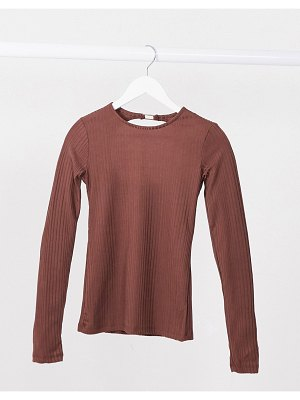 Stradivarius long sleeve jersey top with open back in brown-black