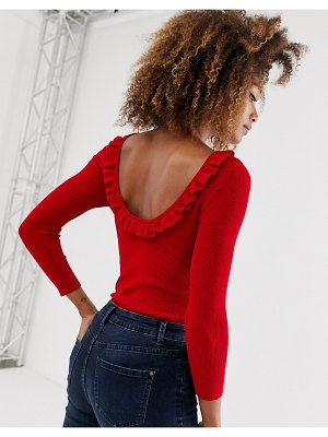 Stradivarius open back sweater with frill detail in red