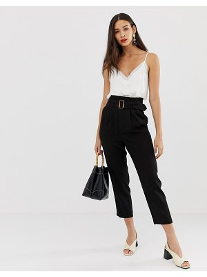 Stradivarius paperbag pants with belt in black