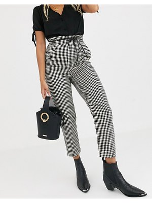 Stradivarius paperbag pants with pu belt in houndstooth-multi