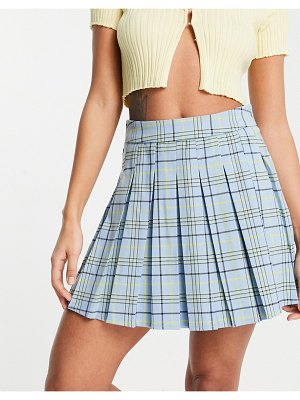 Stradivarius pleated tennis mini skirt in blue check-blues