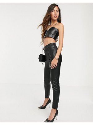 Stradivarius pu pants in black