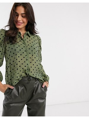 Stradivarius puff sleeve shirt in green with dots