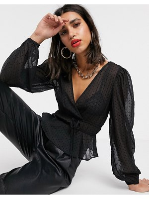 Stradivarius sheer blouse with dots in black