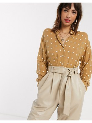 Stradivarius shirt with embroidered dots in beige